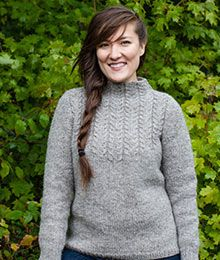 Calabash by Amy Christoffers. The body of this pullover is worked from the bottom up in one piece to the armholes, then divided for front and back. The sleeves are worked separately and sewn in place. The yoke of this sweater features a cable pattern, which is given in chart form only, and which creates a slightly A-line silhouette.