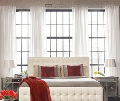 Interior: Long White Window Curtains And Loft Bedroom Interior With Tufted Headboard Bed Mixed With French Windows And Red Accents: Astonishing Design Ideas to Transform Your Loft into Marvelous Living Space Comfy Bedroom, Bedroom Loft, Bedroom Decor, Bedroom Ideas, Bedroom Wall, Loft Interior Design, Loft Design, Elle Decor, Lofts