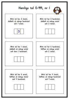 Hemliga tal 1 Math Place Value, Place Values, Teacher Education, School Teacher, 120 Chart, Preschool Math, Maths, Exit Tickets, Math Word Problems