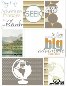 Free Printable Adventure #projectlife Cards