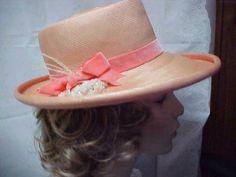 0d06979a1e4 Peach wide brim hat by famous designer FRANK OLIVE by designer2