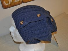 sale RYLO cable knit blue button down slouch beanie by RYLOwear, $15.30