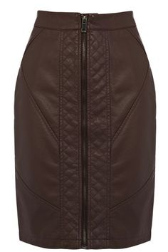 We love the ladylike shape of this faux leather biker skirt. The piece features a metallic zip fastening on the front with quilted stitching detail at either side.