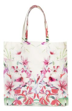 Floral totes are trending this season.