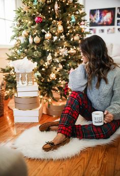 haute off the rack plaid pajama pants grey turtleneck sweater flurry moc slippers cozy christmas pajamas christmas pjs christmas time women's fashion holiday style acrylic sheepskin rug