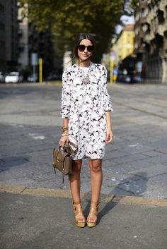 Statement necklace + floral dress