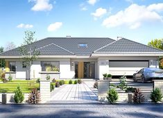 Willa Parterowa - zdjęcie 1 Pool House Plans, Barn House Plans, Dream House Plans, House Layout Plans, Modern Bungalow House, Bungalow House Plans, Classic House Exterior, Dream House Exterior, Four Bedroom House Plans