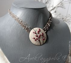 Items similar to Winterberry Round pendant - Red Berry Necklace - Large Pendant - Polymer Clay Necklace - Red Beige pendant - Branch Necklace on Etsy Polymer Clay Projects, Polymer Clay Art, Polymer Clay Embroidery, Agate Jewelry, Polymer Clay Necklace, Clay Flowers, Round Pendant, Metal Clay, Clay Beads
