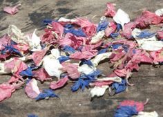 Cornflower blue and larkspur pink and ivory real petal confetti, air dried, biodegradable and litter free.