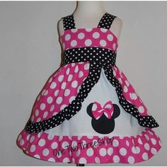 Minnie Mouse dress Med Pink peekaboo Jumper Dress by amacim Frocks For Girls, Little Girl Dresses, Girls Dresses, Toddler Outfits, Kids Outfits, Girl Dress Patterns, Disney Dresses, Jumper Dress, Baby Dress