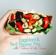 Eat to Live Program Recipe! I modified Dr. Fuhrman's Portobello & Red Pepper Pita to use eggplant instead and tastes just as good!!