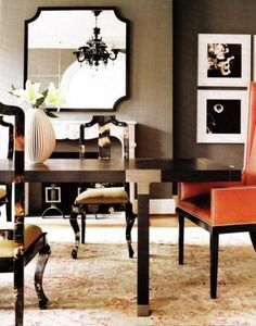 dining room with pop of coral