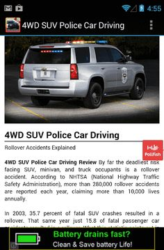 """Get """"4WD SUV Police Car Driving"""" App Review for Free! 4WD SUV Police Car Driving is a physics engine drift auto game. If you like policing Simulator Games, drifting, crushing try it. Smooth controls, realistic auto physics suv. Test your viterbo real drift skills.  http://Mobogenie.com #policephysical"""