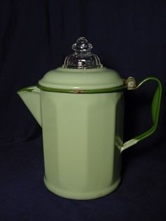 Vintage Green Enamelware (10) Sided Coffee Pot w/ Fire King Top
