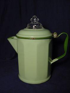 Vintage Green Enamelware (10) Sided Coffee Pot w/ Fire King Top