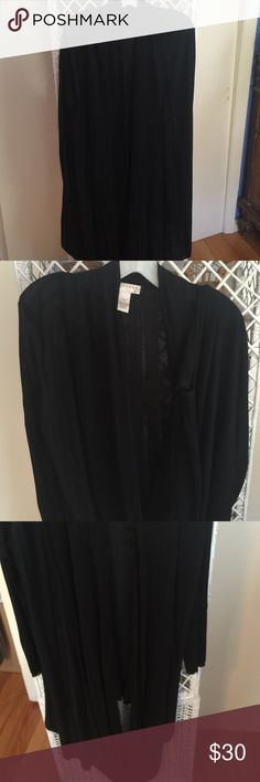 Very unique Kenar black sweater cardigan Long sleeve with open front and the bottom low drape has buttons . Hi low style. Medium. Viscose knit is very soft Kenar Sweaters