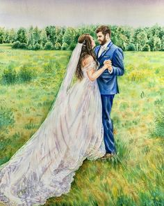 Watercolor Drawing, Watercolor Paintings, Watercolor Wedding, First Dance, Wedding Portraits, Wedding Anniversary, Bridal, Couple Photos, Anna