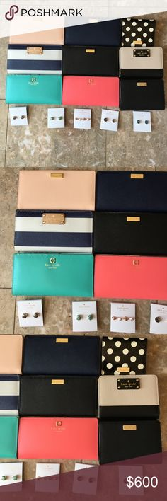 KATE SPADE FOR SALE All brand new with tags Kate spade wallet and earrings. All are ALREADY LISTED in my closet. BUY THIS TO PURCHASE EVERY KATE SPADE LISTED IN MY CLOSET kate spade Bags Wallets