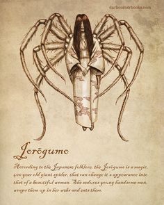 According to the Japanese folklore, the Jorōgumo is a magic, 400 year old giant spider, that can change its appearance into that of a beautiful woman. She seduces young handsome men, wraps them up in her webs and eats them. Mythical Creatures Art, Mythological Creatures, Magical Creatures, Japanese Mythical Creatures, Mythological Monsters, Yuki Onna, Myths & Monsters, Sea Monsters, Legends And Myths