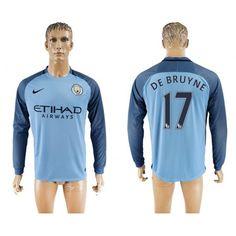 Manchester City 16-17 Kevin #De Bruyne 17  Hjemmebanesæt Lange ærmer,245,14KR,shirtshopservice@gmail.com