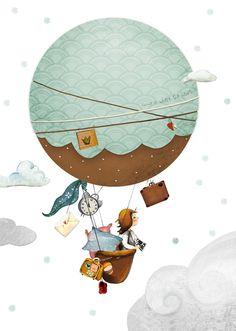 """Bilder - Kinderbild """"Heißluftballon"""" Kinderzimmer - ein Designerstück von pipapier bei DaWanda"""