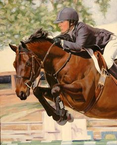 Alix & Keep It Brief - Horse painting by Jan Lukens