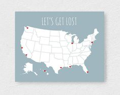 Large Us Map Poster Modern Travel Map With Stickers Usa Road Trip Diy Kit Couple Map Anniversary Gift Let S Get Lost Poster