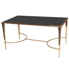 "Stylish Bronze Cocktail Table with ""Slate"" Glass Plateau 
