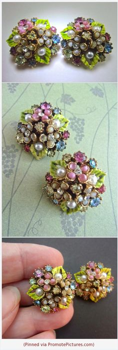 Signed ART Floral Pastel Enamel Earrings Moonglow Cluster Rhinestones Vintage #earrings #ART #signed #cluster #floral #enamel #pearls #moonglow #vintage #flower #green #pink #blue https://www.etsy.com/RenaissanceFair/listing/550021508/signed-art-floral-pastel-enamel-earrings?ref=listings_manager_grid  (Pinned using https://PromotePictures.com)