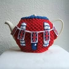 Union Jack themed Knitted tea cosy