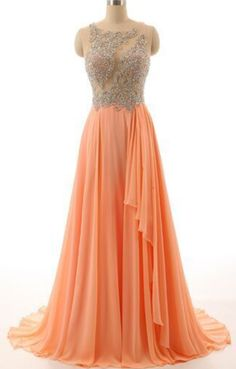 Sexy Prom Dress,Sleeveless Chiffon Prom Dress ,Peach Color Prom Dresses,Beaded Evening Dress,Long Evening Dresses