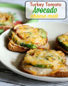 Turkey Tomato Avocado Cheese Melt - yummy and a great meal for the family!