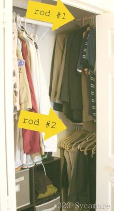 10 Ways to Squeeze a Little Extra Storage Out of a Small Closet: For a long, narrow closet with hard-to-reach corners, add exra hanging rods perpendicular to the main one. Tiny Closet, Small Closets, Master Closet, Closet Bedroom, Closet Redo, Deep Closet, Entry Closet, Open Closets, Attic Closet