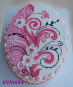 Oh so beautiful!!!!!! Pink / white ornament By aldoska on CakeCentral.com