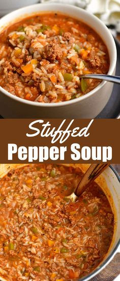 This stuffed peppers soup recipe is made with a variety of fresh ingredients including ground beef, fresh vegetables, and rice. You can use homemade broth for even more flavor. It's a great comfort food version of the classic dish! #beef #groundbeef #rice #soup #dinner #easydinner