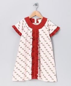 Take a look at this Red Cherry Organic Ruffle Dress - Infant, Toddler & Girls by violet + moss on #zulily today!
