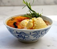 Peaches, tarragon and buttermilk ice cream…