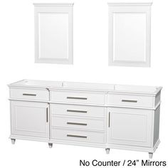 """Wyndham Collection Berkeley White 80-inch Double Bathroom Vanity (White 80"""", 24"""" mirrors, no counter), Size Double Vanities"""