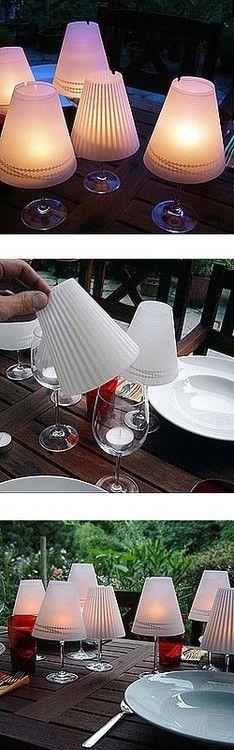 using wine glasses as mini lights!