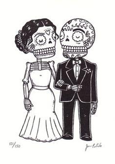 Wedding Calaveras Limited Edition Gocco by MisNopalesArt on Etsy