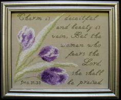 Proverbs - Charm is deceitful - Diane Higdon Cross Stitch Charts, Cross Stitch Designs, Stitch Patterns, Proverbs 31 30, Proverbs 31 Woman, Scriptures, Bible Verses, Religious Cross, Fear Of The Lord