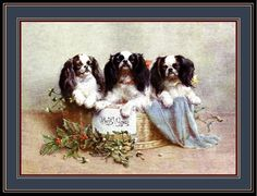 vintage spaniel paintings | Vintage English Print Cavalier King Charles Spaniel Dogs Art Picture