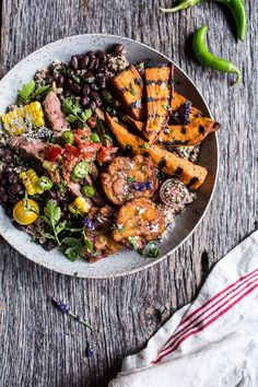 Brazilian Steak and Grilled Sweet Potato Fry Quinoa Bowl with Spicy Coconut Tomato Sauce #beefdinner #sweetpotato