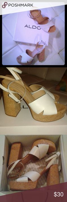 ALDO cork platform chunky heels Vintage - inspired boho/mod, summertime fab! Worn once. Pair with flared hems, or cuffed pants. Comfy and CUTE!!  (leather upper) Aldo Shoes Heels