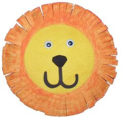 lion, use paper plates with hole, black pom pom,goggle eyes
