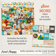 Hello Summer: On The Road! Bundle by Jady Day Studio - save when you purchase the digital kit and journal cards together in this bundle!!