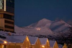 Mount Gordon Lyon & the annual Christmas star. Anchorage,  Alaska