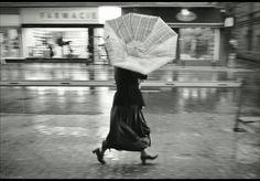 windy rain street photography