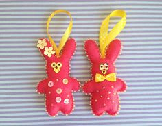 Set of 2 beautiful felt bunny Christmas ornaments - a boy and a girl. Cute gift for a couple. Hand embroidered and hand stitched. Measures
