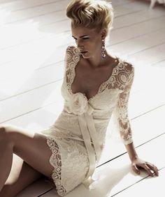 Sexy Deep V-neck Long Sleeve Lace Short Wedding Dress Wedding Trends, Wedding Styles, Wedding Ideas, Short Wedding Gowns, Dress Wedding, Wedding Bride, Lace Wedding, Bridal Dresses, Beautiful Dresses